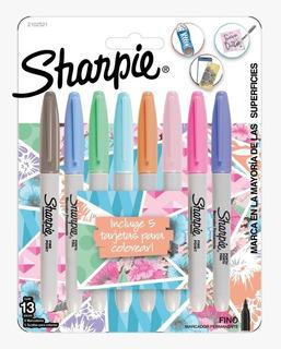 Marcadores Sharpie Pastel X8 Colores + 5 Tarjetas Colorear