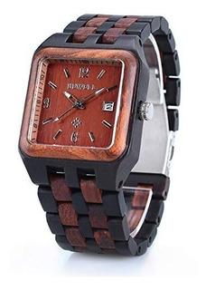 Bewell W111a Reloj De Pulsera Para Hombre Cuadrado De Madera