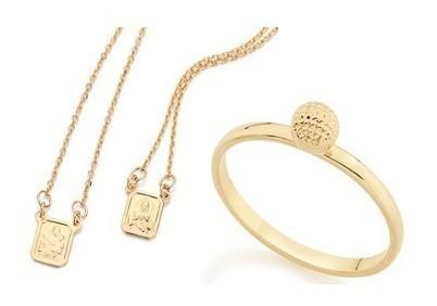 Escapulario+anel Rommanel Folheado Ouro