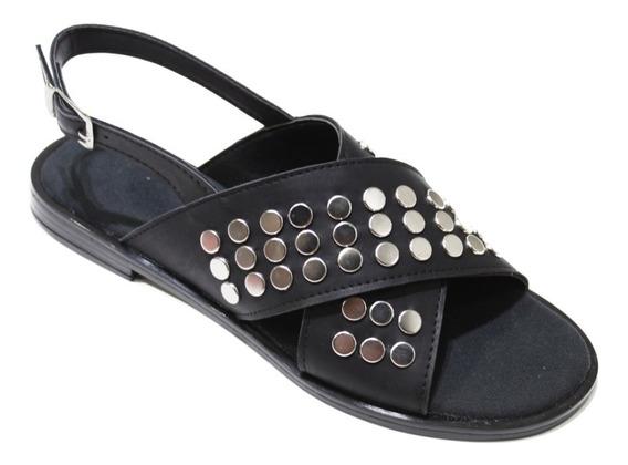 Zapato De Mujer Sandalia Cuero Tahas Hebilla Chatita Verano