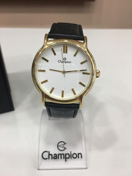 Relógio De Pulso Champion Ch22680 Dourado Couro Preto