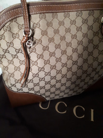 Bolsa Tote Gucci Em Tecido Monogramado E Couro.