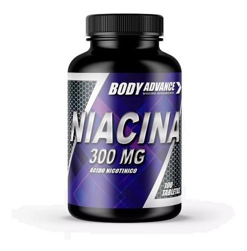 Niacina 300mg, Vitamina B3,  60 Comprimidos. Body Advance
