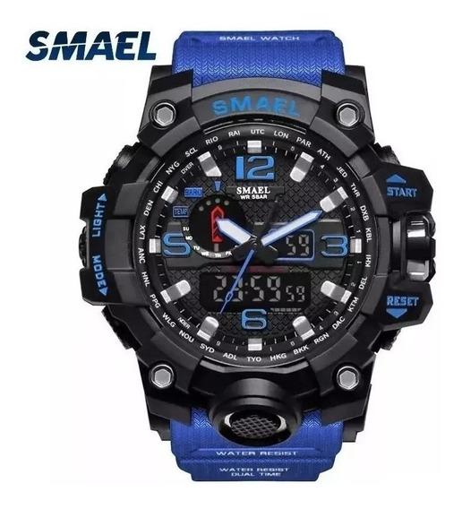 Relógio Smael 1545 Militar Shock Azul Original