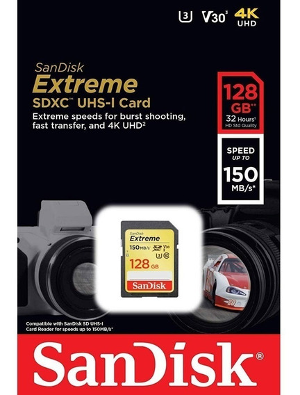 Cartão Sd Sdxc Sandisk Extreme 128gb 150mb/s U3 Lacrado