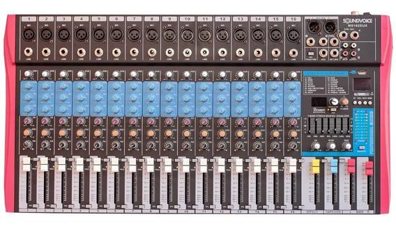 Mesa De Som 16 Canais Efeito/usb/equal. Ms162eux Soundvoice