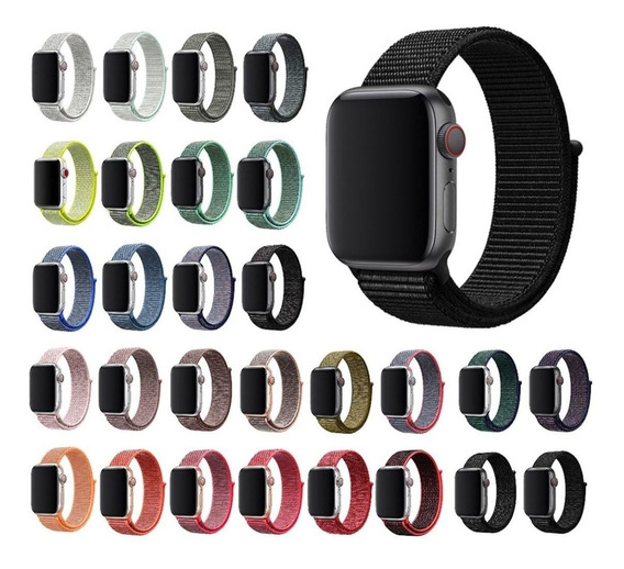 Pulseira Nylon Loop Cores P/ Apple Watch 38mm 40mm 42mm 44mm