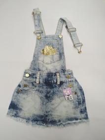 Jardineira Saia Infantil Jeans Menina Verão - 2 Aos 8 Anos Y