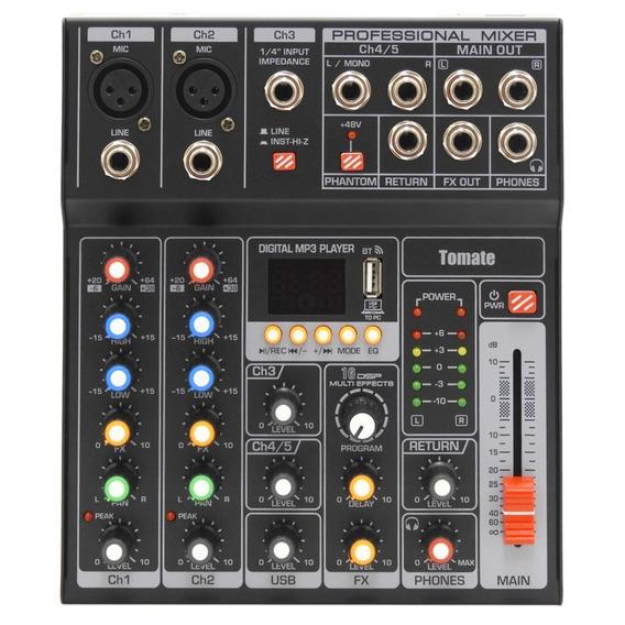 Mesa De Som Profissional Mixer Efeitos 5 Canais Usb Pendrive