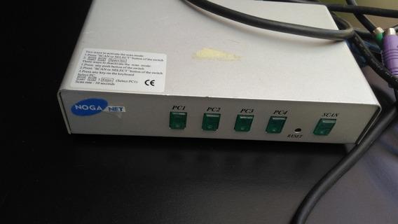 Kvm Switch Ps2 Vga 4 Puertos Noganet Con 3 Cables