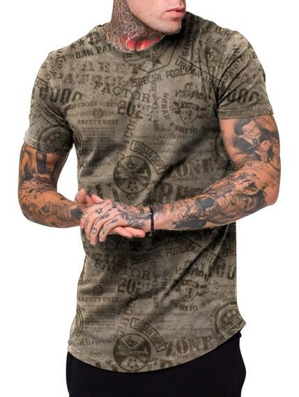 Camiseta Camisa Masculina Long Line Exercito Eua Patriot Top
