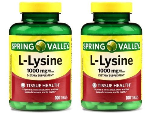 2 Potes L Lysine 1000 Mg 200 Tabletes Spring Valley