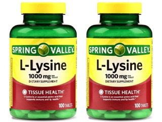 2 Potes L Lysine 1000 Mg 200 Tabletes Spring Valley