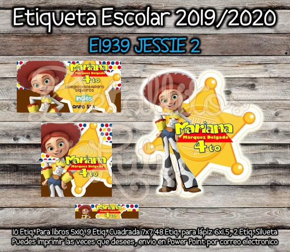 Etiquetas Escolares Jessie Toy Story Estrella 2019 Digital