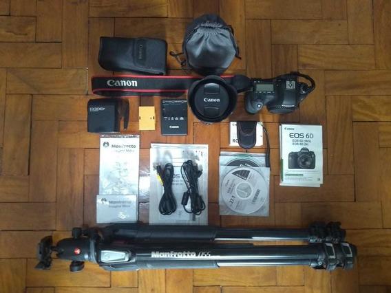 Câmera Canon 6d 24-205mm 4f Tripé Manfrotto 055+ 430ex