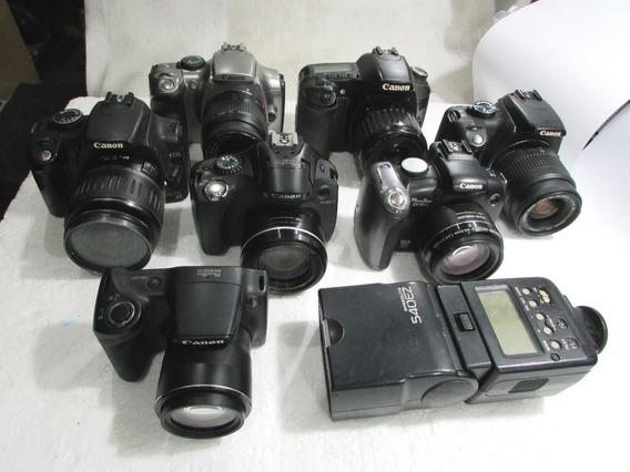 Lote 7 Cameras Digital+flash No Estado Conserto Ou Peças