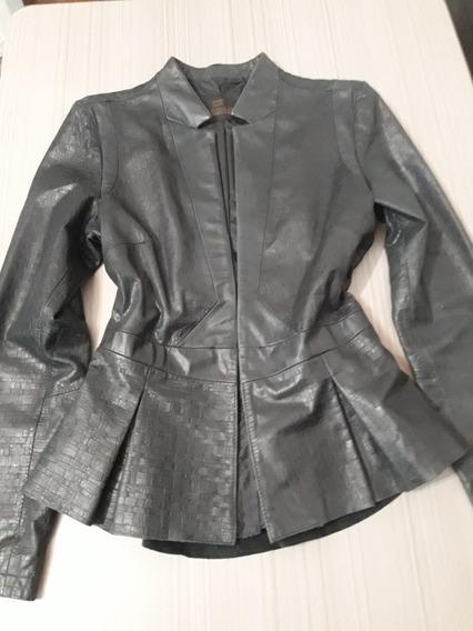 Casaco Femino/ Couro De Cabra Da Marca Jack Sportwear, Tam P