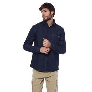 Camisa Dopping Com Aspecto Jeans. Azul Escuro