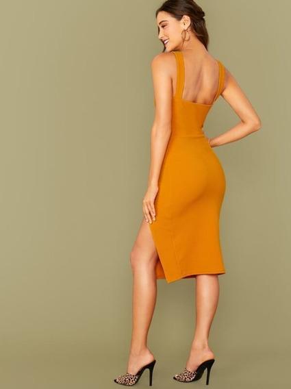 Vestido Bajo Con Abertura Con Tira Gruesa Color Amarillo