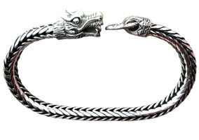 Pulseira Masculina Prata Bali 925 Dragão - Prata Maciça 22cm