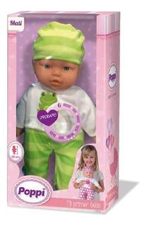 Muñeca Bebe Poppi Mi Primer Bebe 38cm Con Sonidos Pp