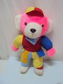 Pelucia Urso Colorido Com Chapeu Tamanho 36cm