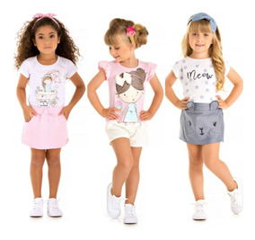 Kit 3 Conjuntos Infantil Menina Feminino Roupa Verão