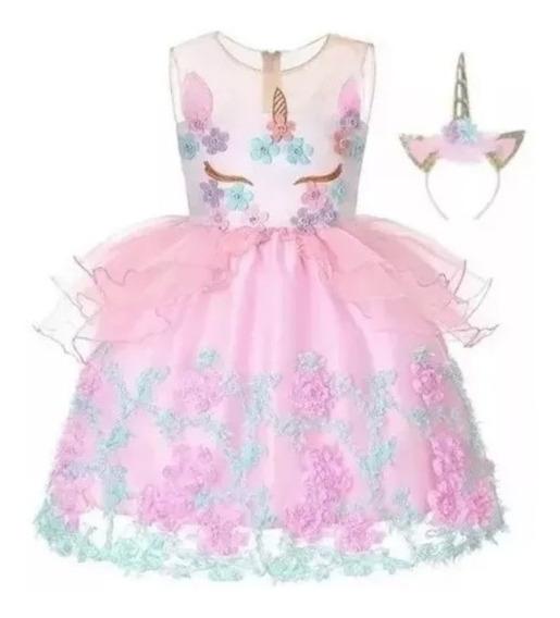 Vestido Para Niñas Tutu Rosa Bordado De Unicornio