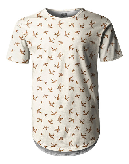 Camiseta Masculina Longline Swag Andorinha Estampa Digital