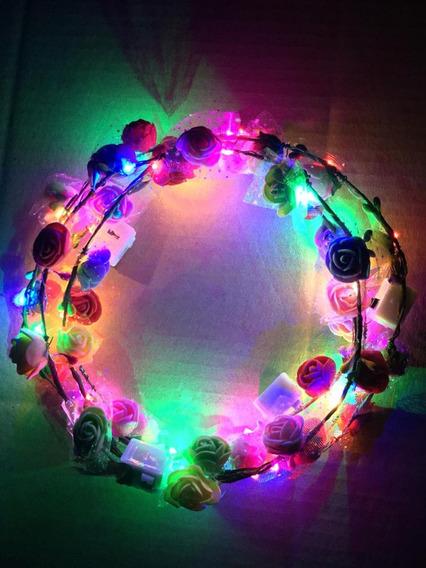 Vincha Flores Hippie X 10 Led Tiara Corona Hawaiana Luminoso