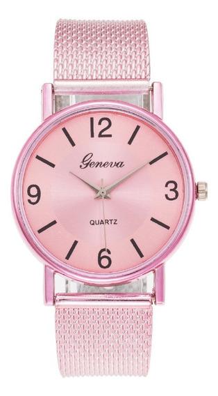 Relógio Feminino De Pulso Geneva Lindo Rosa Luxo Promoção