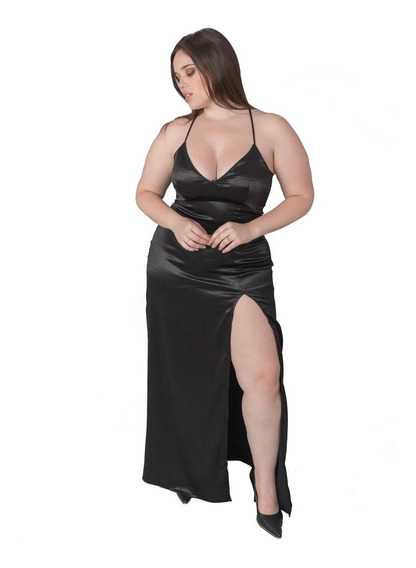 Vestido Fiesta Largo Negro Con Tajo Talle S Somos Fabrica