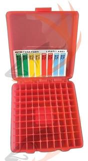 Caja Porta Municion Mtm 9mm 100 Tiros Roja