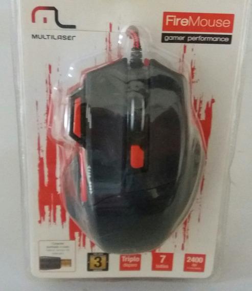 Mouse Jogo Gamer Fire Mo236 C/fio 7 Botões 2400 Dpi Multilas