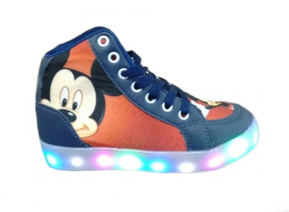 Bota Infantil Luz Led Do Mickey Personagem Criança Botinha