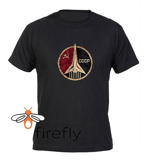 Remera Union Sovietica Cccp Space Hombre Negro C. 3 Firefly