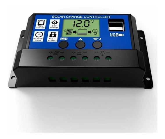 Controlador De Carga 30a 2usb 12/24v Para Painel Solar Pwm