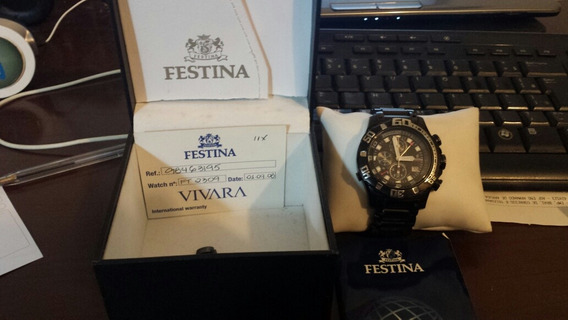Relógio Festinha Masculino Aço Preto - F16288/2 Usado.
