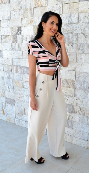 Conjunto Feminino Cropped De Listra Calça Cintura Alta