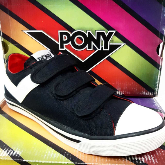 Zapatillas Pony Shooter Lo Cvs Velcro Vulcanizado Negro At12