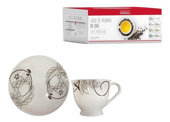 Jogo Conjunto Xicaras Chá Com Pires Porcelana 170 Ml