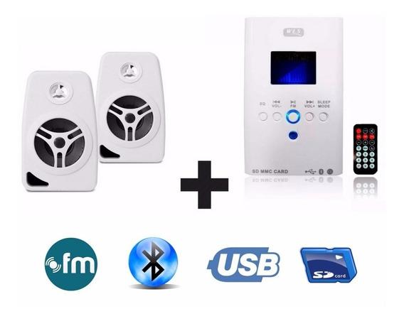 Som Ambiente Bluetooth+ 4 Caixa Branca Suporte Parede