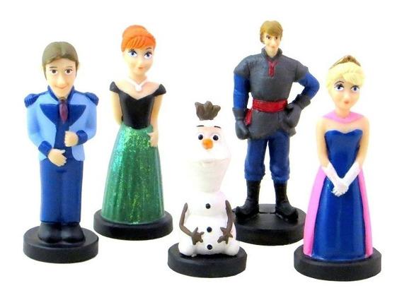 Jogo 5 Bonecos Frozen Elsa Anna Hans Kristoff Olaf Resina