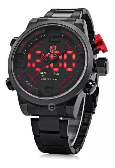 Relógio Masculino Shark Anadigi Sh-105 - Preto E Vermelho
