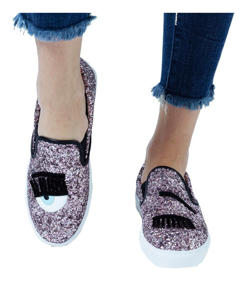 Customs Ba Zapatos Mujer Zapato Brillos Panchas Zapatillas D