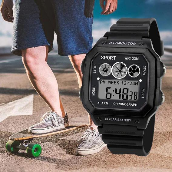 Relógio Pulso Masculino Digital Esportivo Cronometro Barato