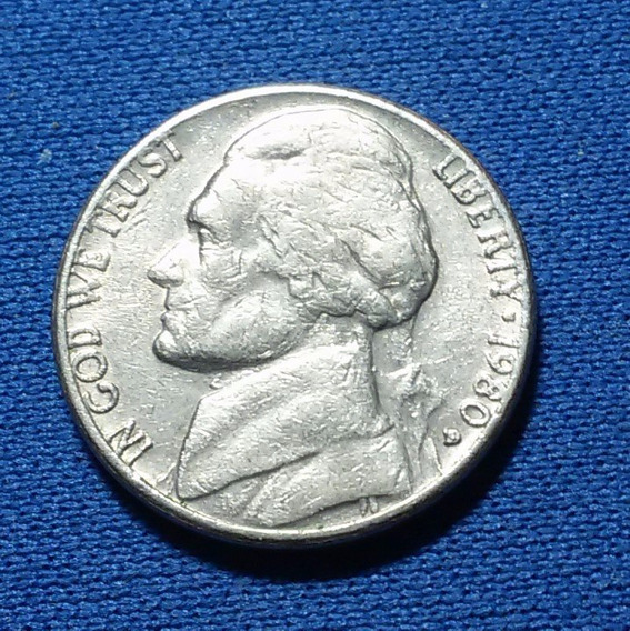 Antiga Moeda Usa Five Cents Dollar 1980