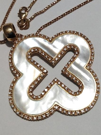 Gargantilla Y Dije Oro Rosa 14k ConMadre Perla Y Diamantes