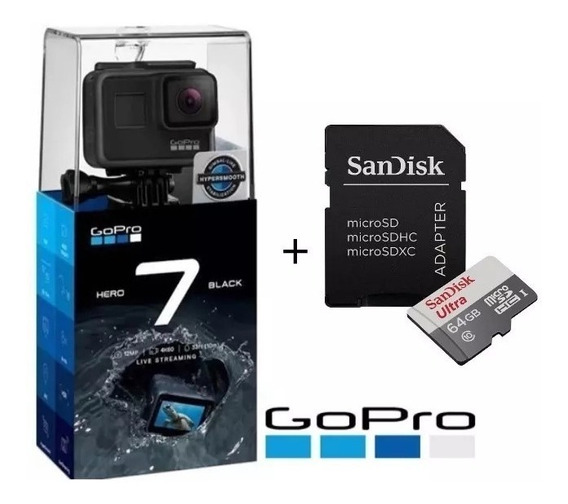 Gopro Hero 7 + 64gb Black Câmera Filmadora Chdhx-701 Lacrada