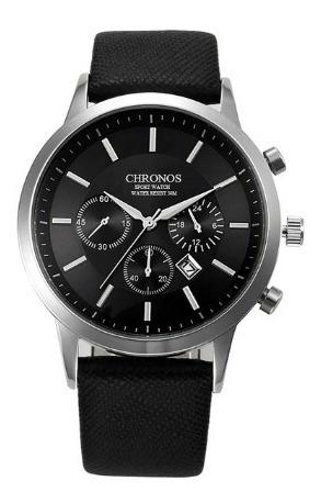 Relógio Masculino Chronos Luxuoso Com Pulseira De Couro
